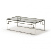 Kesterport Cendrine Glass Coffee Table Clear Glass and Polished Steel Frame