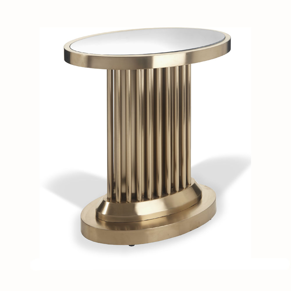 R V Astley Barnes Art Deco Brass Finish With Glass Side Table 2223