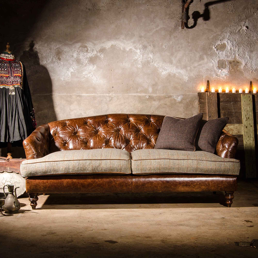 Tetrad dalmore petit sofa the latest edition to this most for Leather and tweed sofa