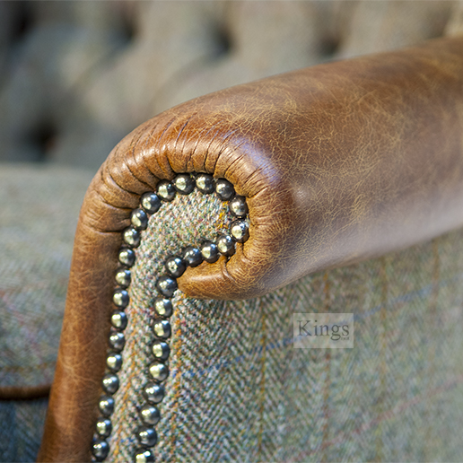 Tetrad Harris Tweed Mackensie Chair Leather Arm