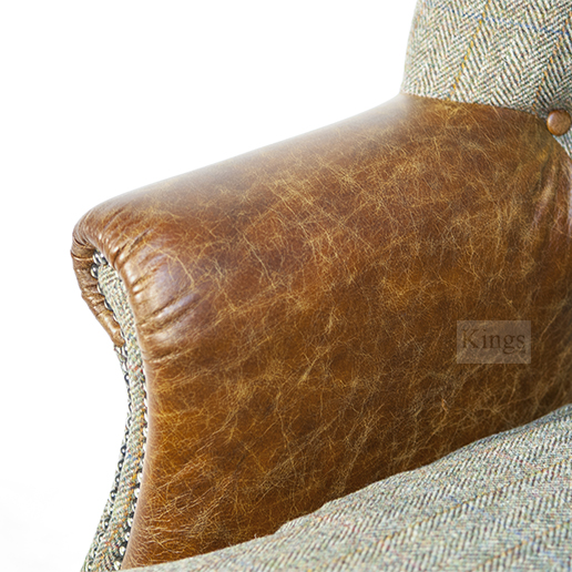 Tetrad Upholstery Harris Tweed Mackensie Chair Leather Headrest And Arms
