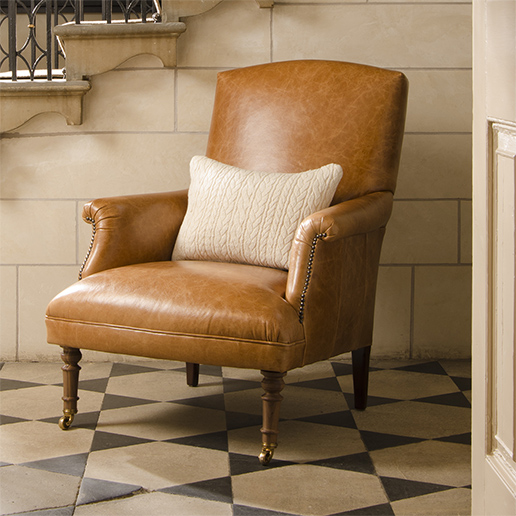 Tetrad Upholstery Tuxedo Chair in Ralph Lauren Signature Fabrics Galvaston Tan
