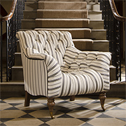 Tetrad Upholstery Yale Chair in Ralph Lauren Signature Fabrics Merrion Stripe