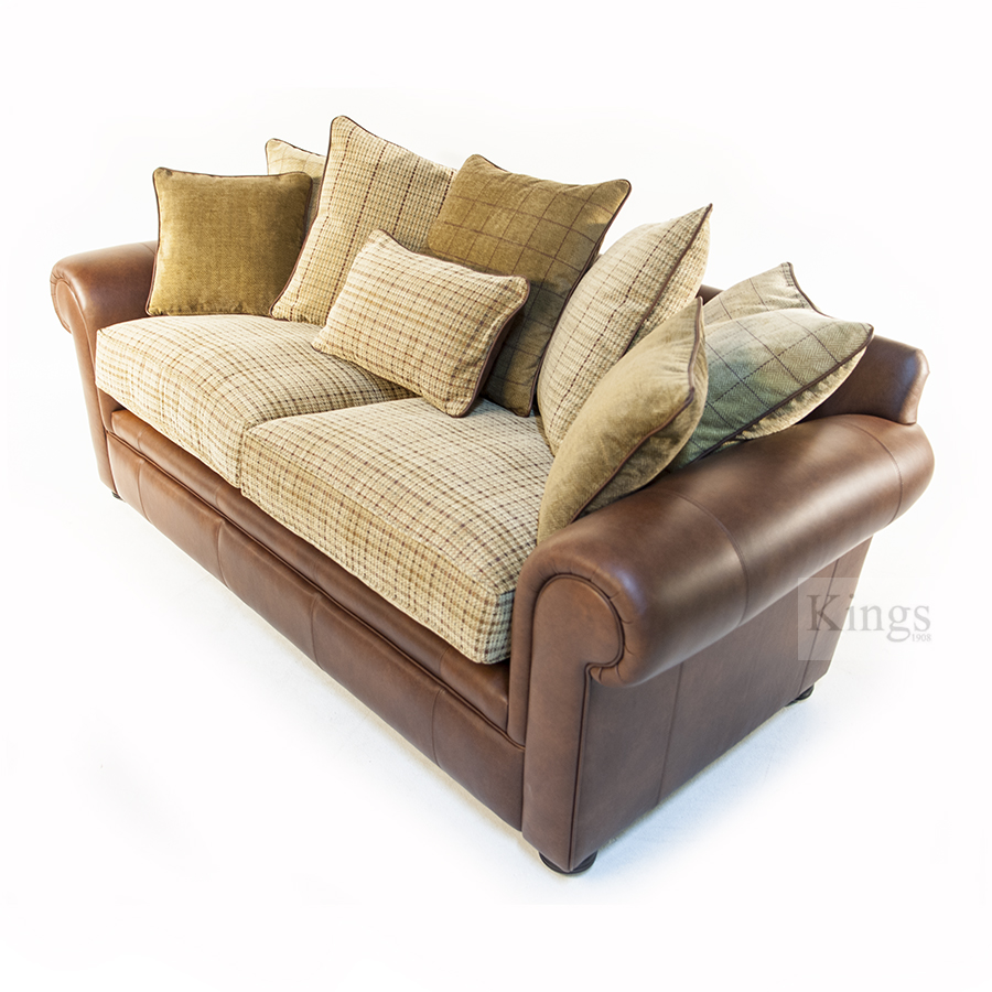 Wade Upholstery Barnaby Small Sofa Leather And Fabric Formal Back