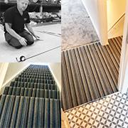 Stairs, Landing, Bathroom and Bedroom by Calvin. A wool stripe to the stairs and landing. Saxony to the bedroom and vinyl to the bathroom.