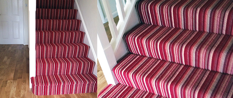 Red Striped Carpet With Oak Floor