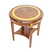 Charles Barr Mahogany and Olive Wood Circular Side Table