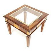 Charles Barr Grandeur Glass Top Mahogany Side Table