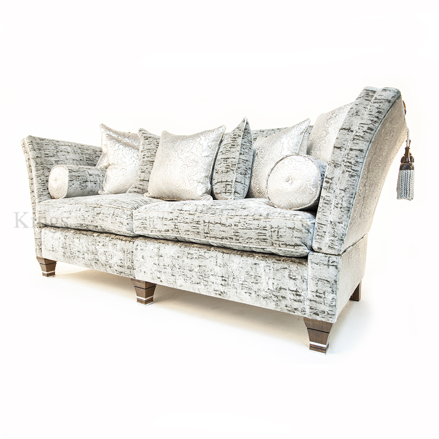David Gundry Upholstery Large Madrid Knole With Snuggler Sofa And Wing  Chair In Silver Luxury Fabric With Silver Sofa