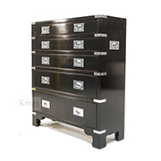 REH Kennedy Five Drawer Military Cabinet in Black and Chrome 4145
