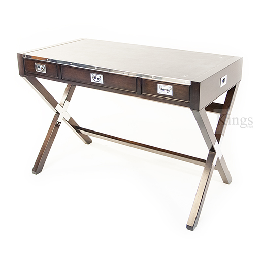 REH Kennedy Military Writing Desk in Walnut and Chrome
