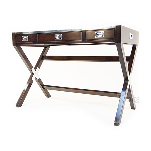 REH Kennedy Military Writing Desk in Walnut and Chrome 3