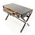 REH Kennedy Military Writing Desk in Walnut and Chrome 2
