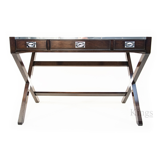 REH Kennedy Military Writing Desk in Walnut and Chrome 3 4