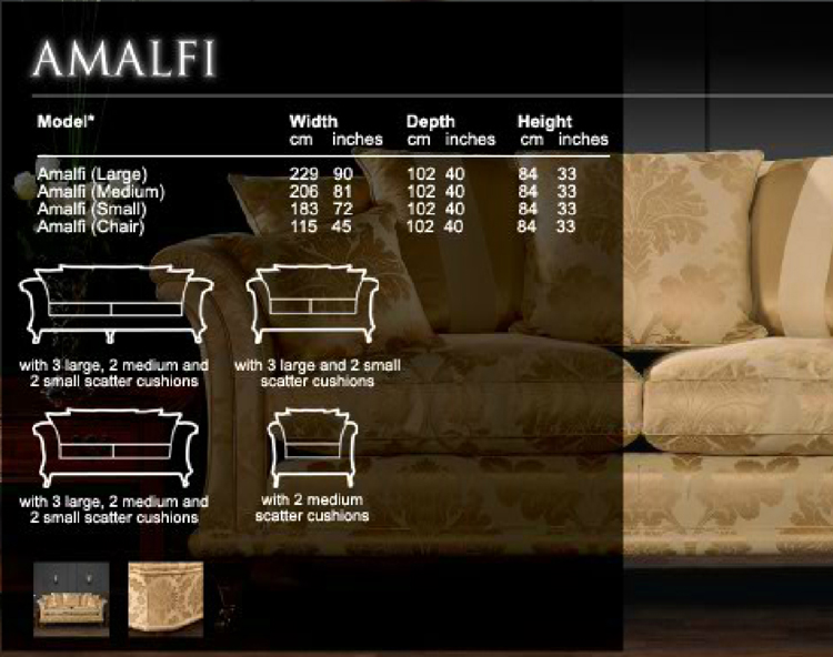 David Gundry amalfi specifications and sizes