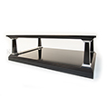 REH Kennedy Classic Coffee Table Black And Silver with Glass Top