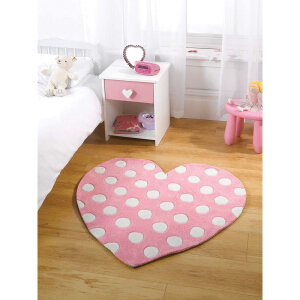 Flair Rugs Play Heart Pastel Pink