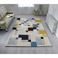 Flair Rugs Illusion Abstract Blocks Blue/Ochre