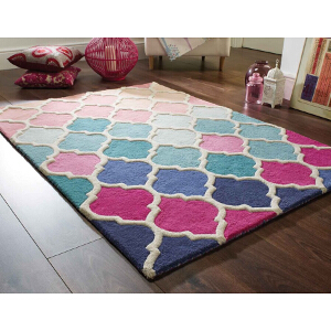 Flair Rugs Illusion Rosella Pink Blue